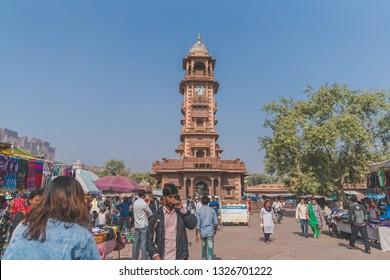 30 DEC 17 : Sardar Market & Clock Tower with Indians people shopping around the market, Jodhpur, Rajasthan - India