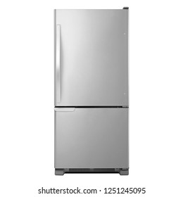30 Inch Bottom-Freezer Refrigerator 12.9 Cu. Ft. Isolated on White. Front View of Stainless Steel 2 Door Side by Side Two Door Fridge Bottom Freezer 5.6 Cu. Ft. Kitchen and Domestic Appliances