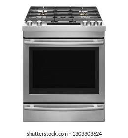 30 Inch Slide-in Gas Range Isolated on White. Front View of Stainless Steel Gas Stove with 5 Burners and Sealed Cooktop 5.8 Cu. Ft. Primary Oven Capacity. Modern Kitchen and Domestic Appliances