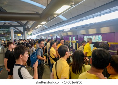 30 Jun 2019 : Bangkok Thailand. Many crowd people waiting electric train in the Bangsue BTS station. BTS is an electric train railway system. People life capital concept.