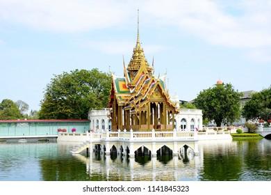 30 June 2018 - Ayutthaya Thailand;Phra Thinang Aisawan Thiphya-Art is a thai style pavilion built by King Chulalongkorn in 1876,Bang pa-in Ayutthaya,Thailand