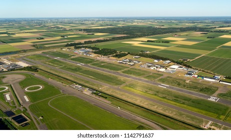 30 june 2018, Lelystad, Holland. Aerial view of Vliegveld Lelystad. The airport is being expanded into a centre for charter and budget airlines.
