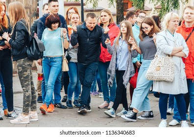 30 June 2018 Minsk Belarus Street walks A group of people is standing on the street