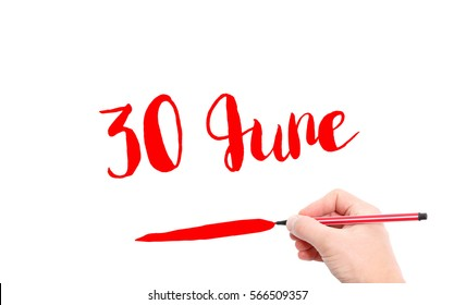 30 June written by hand on a white background