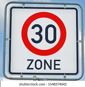 30 Kilometer Zone Road Sign