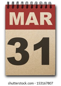 30  March calendar on recycle paper