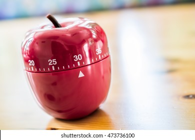 30 Minutes - Kitchen Egg Timer In Apple Shape On Wooden Table