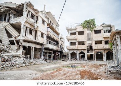 30 october 2015. Syria, Homs. City streets with shot down buildings