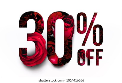 30% off discount promotion sale Brilliant poster, banner, ads. Precious Paper cut with Real red rose flowers for your elegant and unique selling poster / banner promotion offer percent discount ads.