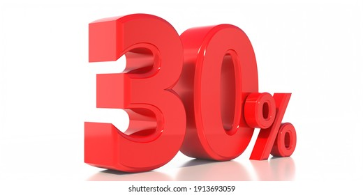 30% off discount promotion, Sale 30%. Christmas, valentines day special offer concept. Thirty percent red color symbol isolated on white background. Label, tag, advertising sticker. 3d illustration.