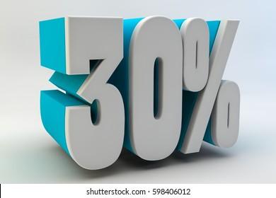 30 per cent. 3D text.