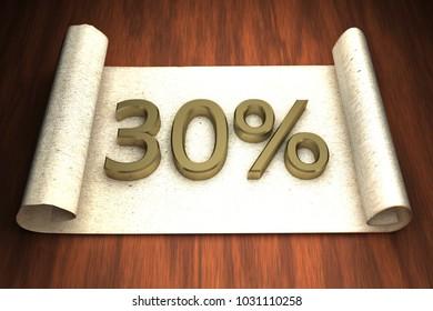 30 per cent, golden numbers, over open paper, 3d rendering