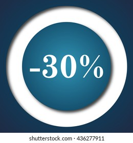 30 percent discount icon. Internet button on white background.