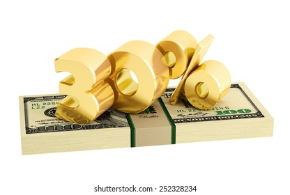 30% - savings - discount - interest rate - isolated on white