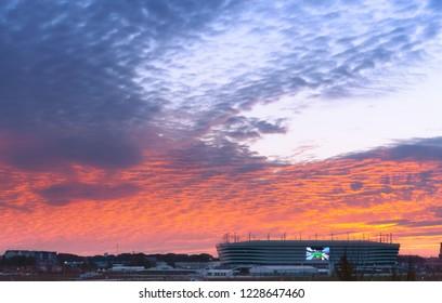 30 September, 2018, Kaliningrad, Russia, Baltic arena football stadium, sunset over the stadium