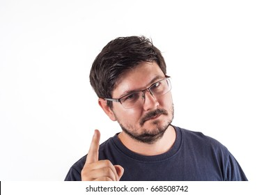 30 years old man move up finger with Idea in his Head.