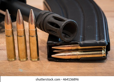 300 AAC blackout Ammunition in Magazine on Wood Surface