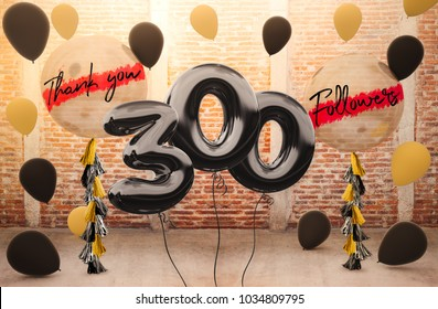 300 followers thank you with brilliant Balloons background. For your Celebration and Appreciation for social Network friends, Web user Thank you or celebrate of subscriber, follower, like