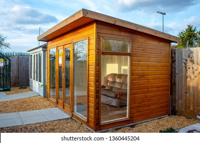 30/03/2019 Surrey England .Garden wooden  shed on display in UK Garden Shopping centre