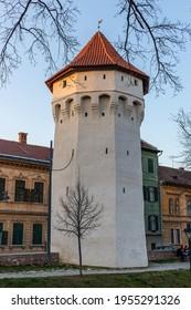 30.03.2021 Sibiu, Romania. Archebuzierilor Tower, a medieval defensive tower in the historic city center of Sibiu, Romania.