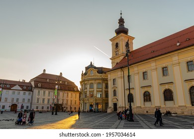 30.03.2021 Sibiu, Romania. Historic city center of Sibiu with the main square and the Town Hall.