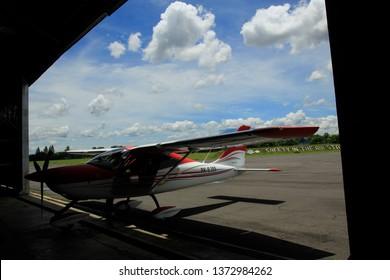 30/04/2017, Yogyakarta, Indonesia: The type of microlight plane entered the airport hangar Adisutjipto Yogyakarta. Yogyakarta is known as a city that held many international aerospace activities.