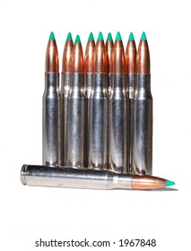 30-06 reloaded ammunition with ballistic tip projectiles in nickel platedcases on a white background
