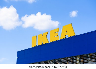 30.08.2018. RIGA,LATVIA. Logo on roof. IKEA LATVIA Store opening. IKEA (Ingvar Kamprad Elmtaryd Agunnaryd) is a Swedish international company. The company is now the world's largest furniture retailer
