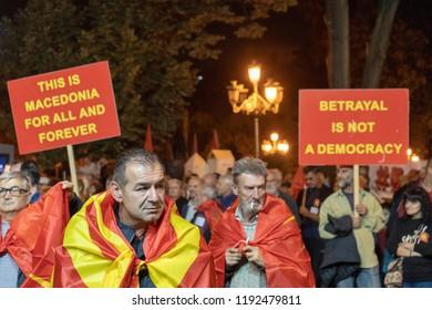 30/09/2018 Movement for boycotting the name referendum, Bojkotiram (I'm boycotting) in SKOPJE, MACEDONIA celebrating after the referendum.