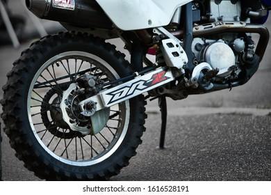 30-09-2019 Riga, Latvia Cross motorcycle rear wheel close up view. Motocross