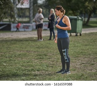 30-09-2019 Riga, Latvia Sports girl prepares for coaching. Sporty girl. Sporty woman