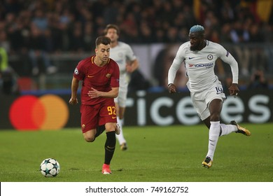 30.10.2017 Rome, Italy, Olimpic Stadium: El Shaarawy and Bakayoko In action during the match between As Roma vs FC Chelsea in Olimpic Stadium in Rome.