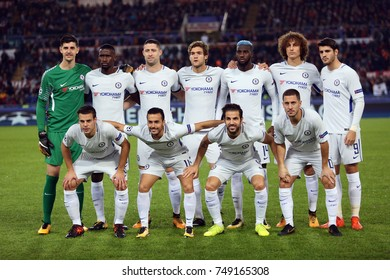 30.10.2017 Rome, Italy, Olimpic Stadium: Chelsea team before  the match between As Roma vs FC Chelsea in Olimpic Stadium in Rome.