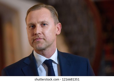 30.10.2018. RIGA, LATVIA. Aldis Gobzems candidate for Prime Minister of Latvia after meeting with President of Latvia Raimonds Vejonis, during press briefing at Riga Castle.