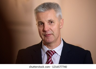 30.10.2018. RIGA, LATVIA. Artis Pabriks, candidate for Prime Minister of Latvia after meeting with President of Latvia Raimonds Vejonis.