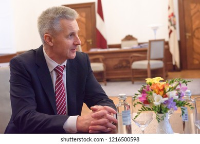 """30.10.2018. RIGA, LATVIA. President of Latvia Raimonds Vejonis Meeting with Mr Artis Pabriks, candidate Prime Minister from the Union of Political Parties elected to the 13th Saeima """"Attīstībai/ Par!"""""""