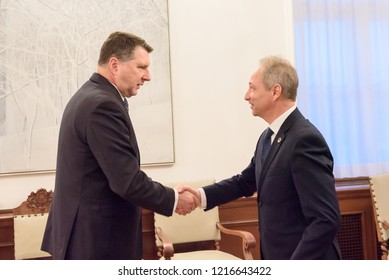 30.10.2018. RIGA, LATVIA. President of Latvia Raimonds Vejonis Meeting with Mr Jānis Bordāns, candidate Prime Minister from the New Conservative Party elected to the 13th Saeima