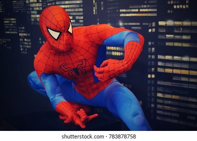 30.12.2017 wax statue of a spiderman in a wax statue museum in the Czech Republic in the capital of Prague