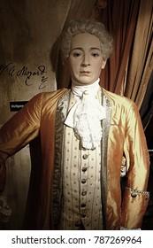 30.12.2017 Wax statue Wolfgang Amadeus Mozart, a piano virtuoso in the Wax Museum in the Czech Republic in the capital Prague