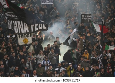 3.03.2018. Stadio Olimpico, Rome, Italy. Serie A. SS Lazio vs Fc Juventus. Juventus supporters during the match S.S. Lazio vs F.C. Juventus at Stadio Olimpico in Rome.