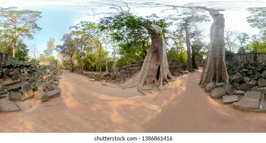 306VR of ancient ruins of Ta Prohm jungle temple in Angkor complex of Cambodia.