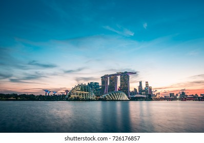 30/9/17 looking at the Attraction places in Singapore across the bay in the evening, Gardens By The Bay, Marina Bay Sands