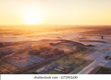 30Dec18: the main body of Beijing new airport looks almost finished at the end of the year 2018, in Beijing, China.