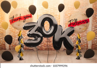 30k or 30,000 followers thank you with brilliant Balloons background. For your Celebration and Appreciation for social Network friends, Web user Thank you or celebrate of subscriber, follower, like