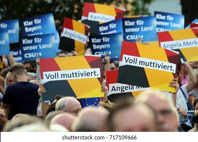 30th August, 2017 Erlangen, Germany  A crowd of CSU and CDU supporters listen to Angela Merkel speaking in the run up to the German general election