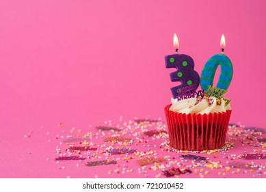 30th Birthday cupcake pink background