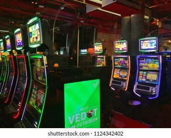 30th June 2018. Finland, espoo. New slot machines for gamblers with colorful lights.