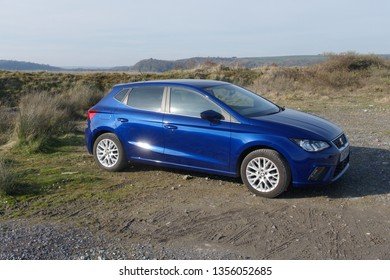 30th March 2019- A lovely Seat Ibiza five door hatchback in the public parking area at the Ginst Point near Laugharne, Carmarthenshire, Wales, UK.