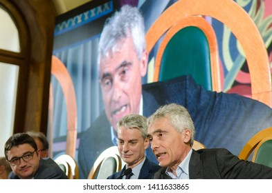 30th May 2019, Trento, Italy; Festival dell' Economia - Trento 2019; (L+R) Maurizio, Fugatti,Paolo Collini and Tito Boeri attend during Festival dell' Economia Inauguration in Trento on May 30, 2019.