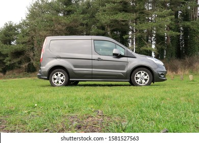 30th November 2019- An elegant Ford Transit  Connect van parked on the grass in Pembrey Country Park, Carmarthenshire, Wales, UK.